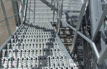 Galvanized perforated safety grating used for stairs
