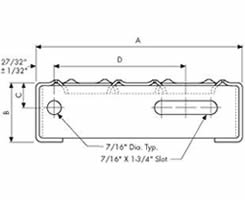 Details of stairs treads end carrier plate drawing